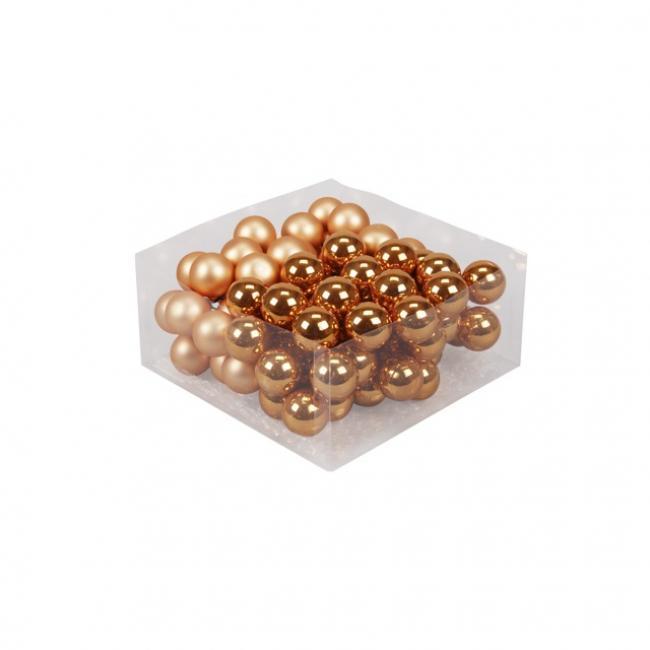 Gömb üveg betűzős 3cm narancs fényes-matt [72 db]