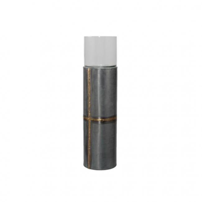 Gyertyatartó fém 13x32cm szürke/arany