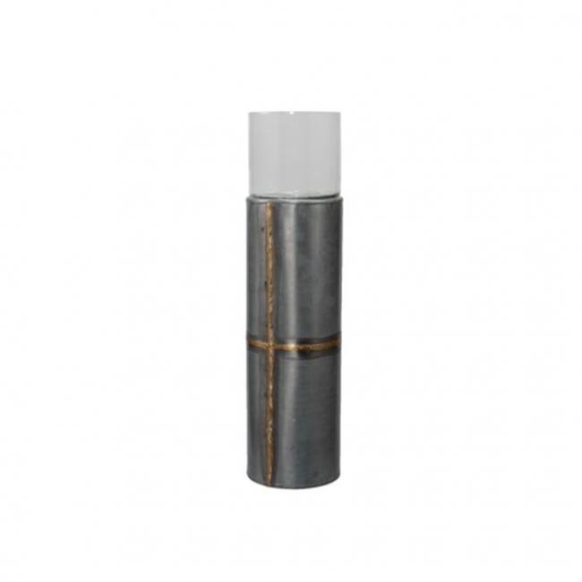 Gyertyatartó fém 13x37cm szürke/arany