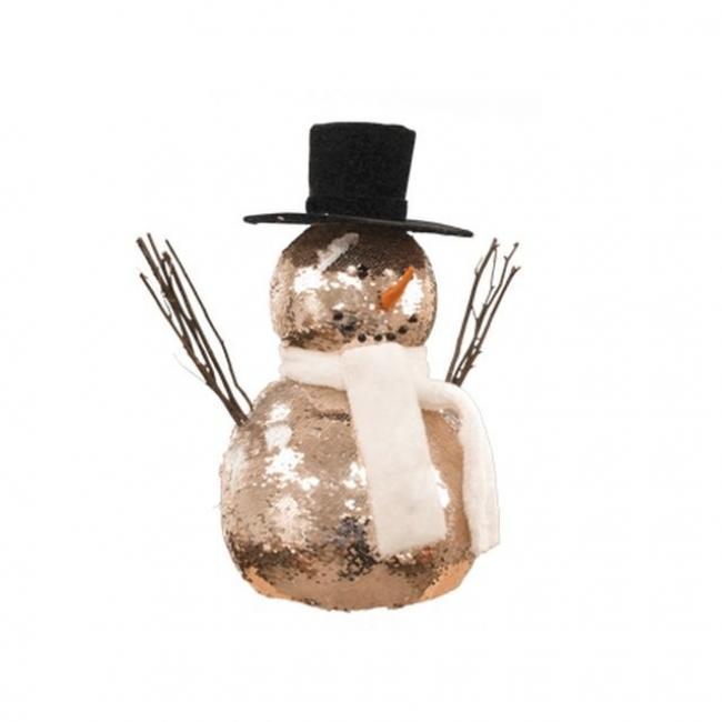 Hóember flitteres műanyag 41 cm pezsgő/fehér