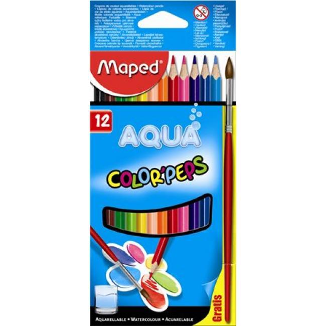 Akvarell ceruza készlet, háromszögletű, ecsettel, MAPED