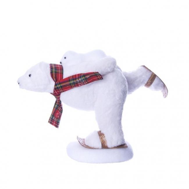 Jegesmedve kicsivel sállal hungarocell/szövet 53cm x 27cm x36cm fehér