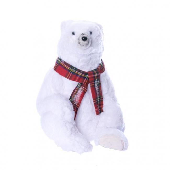 Jegesmedve sállal ülő hungarocell/szövet 21cm x24cm x34cm  fehér