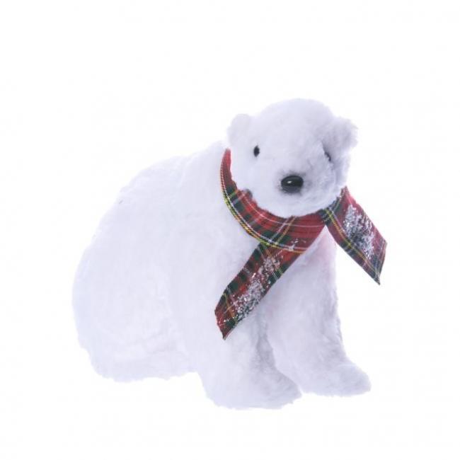 Jegesmedve sállal ülő hungarocell/szövet 24cm x28cm x21cm fehér
