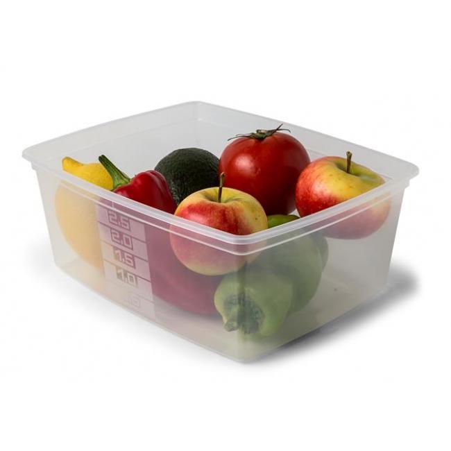 Ételtartó doboz+fedő, szögletes, műa., 2db-os szett, 2,5l (méret: 235 x 190 x 93 mm) [3 db]