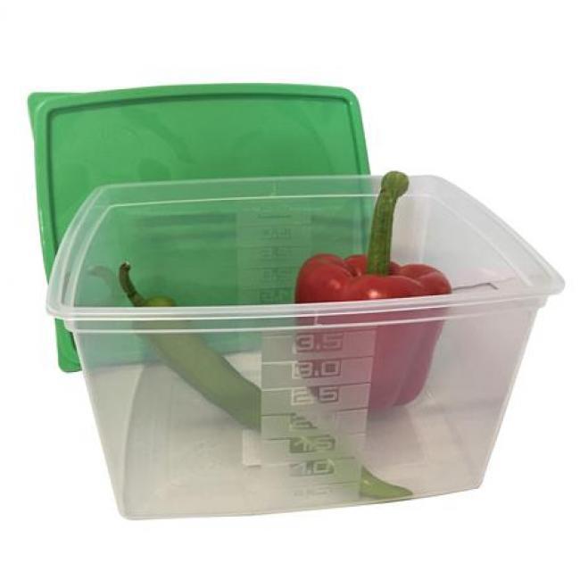 Ételtartó doboz+fedő, szögletes, műa., 2db-os szett, 3,5l (méret: 235 x 190 x 130 mm) [2 db]