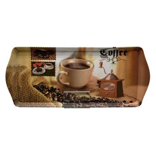 Tálca, szögletes, műanyag, kávéház mintás, 33x14,5 cm