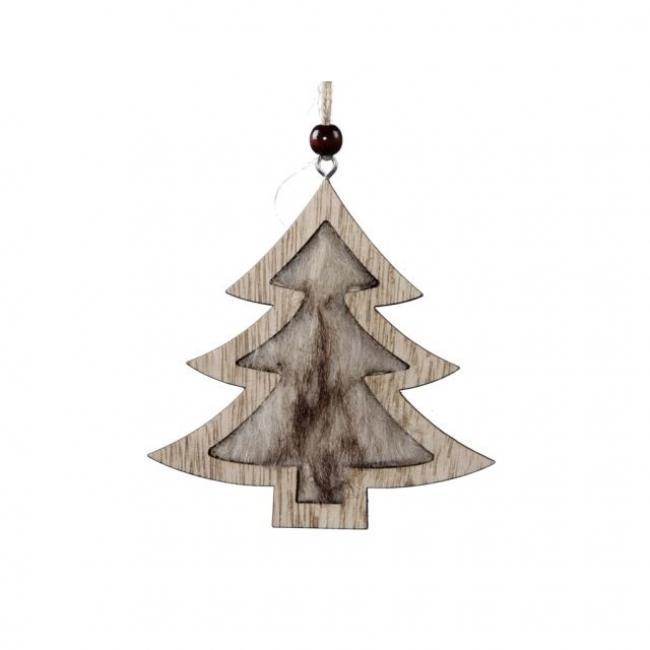 Fenyőfa akasztós fa 10 cm natúr [4 db]