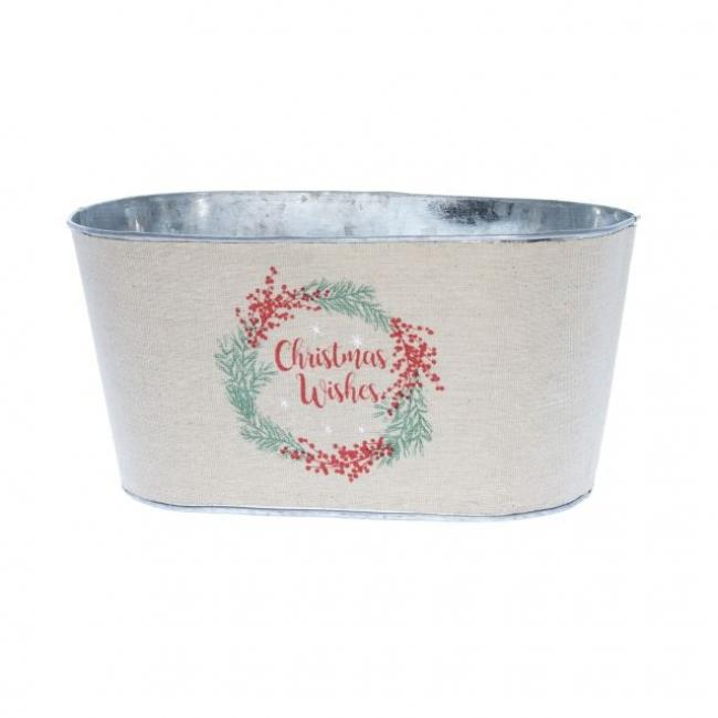 Kaspó ovális textil bevonattal Christmas Wishes felirat bádog, hímzett 26,5cm x15cm x13 cm bézs