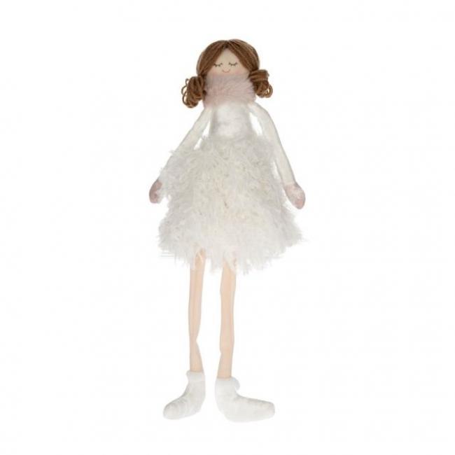 Kislány lógólábú textil 55cm fehér