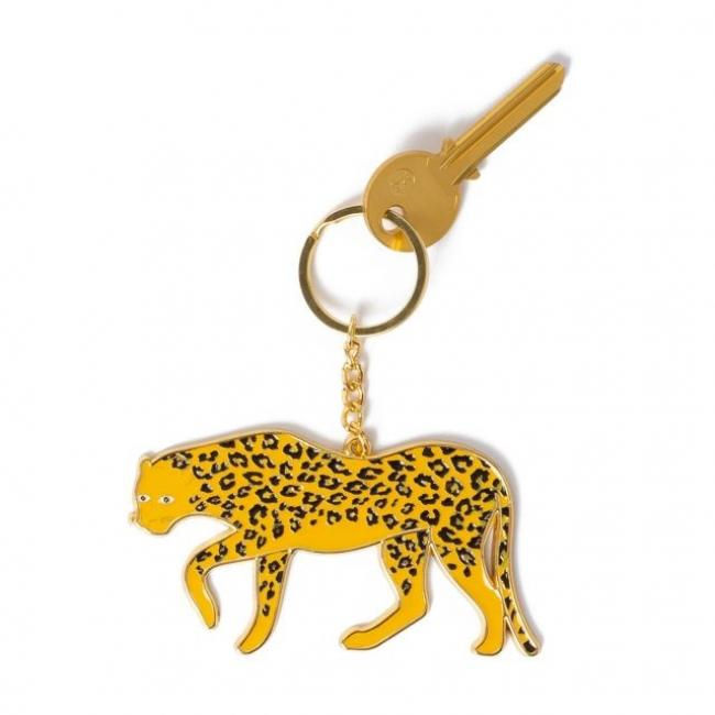 Kulcstartó extra méretű Leopárd fém sárga