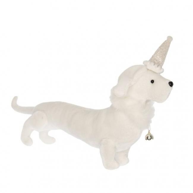 Kutya álló textil 40 cm fehér