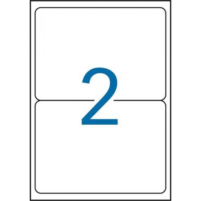 Etikett, 199,6x143,5 mm, poliészter, időjárásálló, kerekített sarkú, APLI, fehér, 40 etikett/csomag [20 lap]
