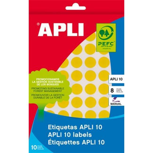Etikett, 10 mm kör, kézzel írható, színes, APLI, sárga, 1008 etikett/csomag [8 lap]
