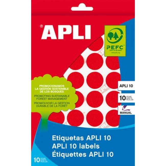 Etikett, 16 mm kör, kézzel írható, színes, APLI, piros, 432 etikett/csomag [8 lap]