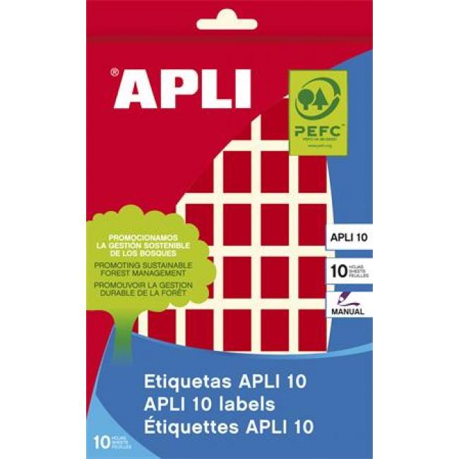 Etikett, 12x18 mm, kézzel írható, színes, kerekített sarkú, APLI, piros, 448 etikett/csomag [8 lap]