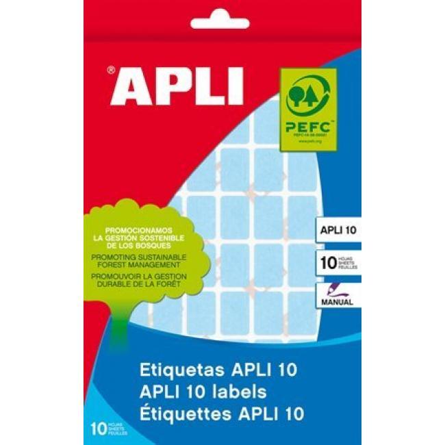 Etikett, 12x18 mm, kézzel írható, színes, kerekített sarkú, APLI, zöld, 448 etikett/csomag [8 lap]