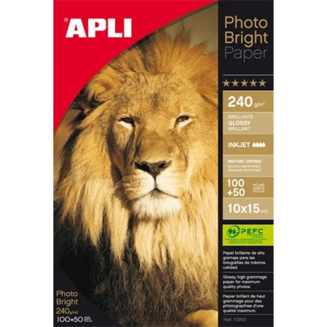 Fotópapír, tintasugaras, 10x15 cm, 240 g, fényes, APLI