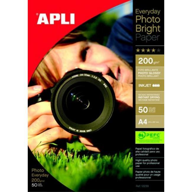 Fotópapír, tintasugaras, A4, 200 g, fényes, APLI