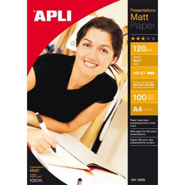 Fotópapír, tintasugaras, dobozos,  A4, 120 g, matt, APLI