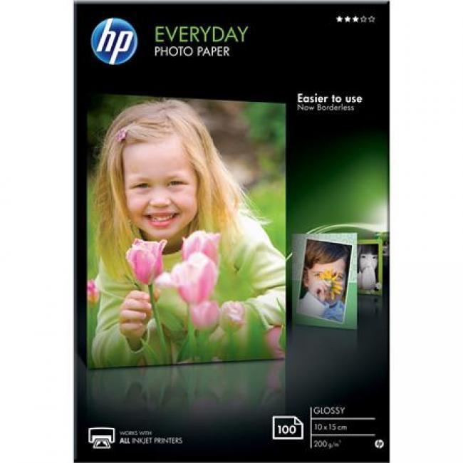 CR757A Fotópapír, tintasugaras, 10x15 cm, 200 g, fényes, HP [100 lap]