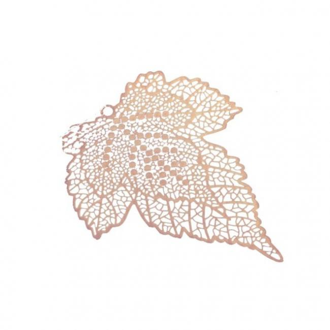 Levél dekor akasztós fém 5,5 cm x 7 cm bronz [4 db]