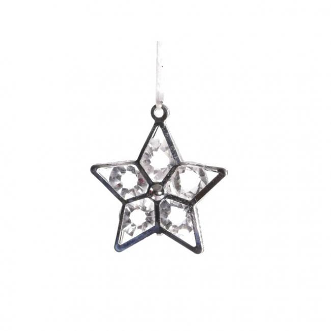 Csillag fém 3 cm ezüst [24 db]