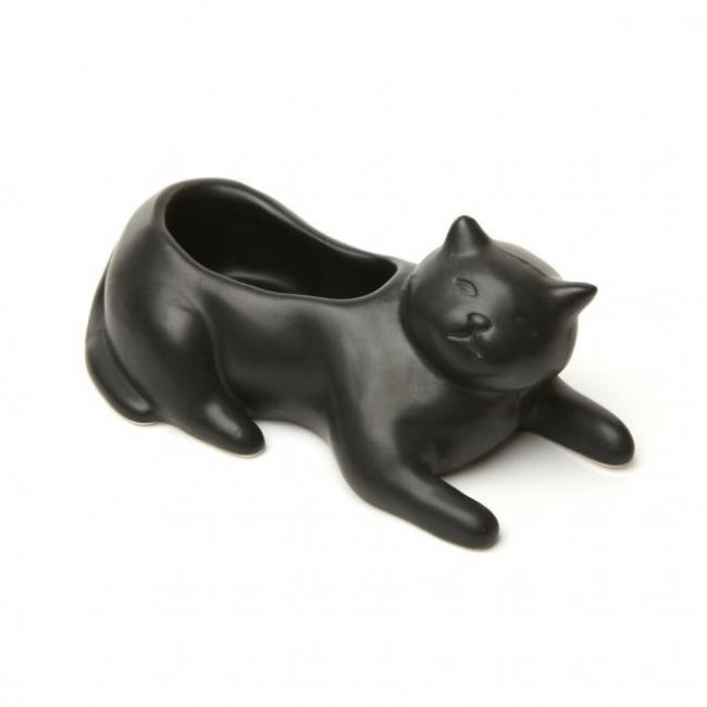 Macska formájú kaspó, fekete