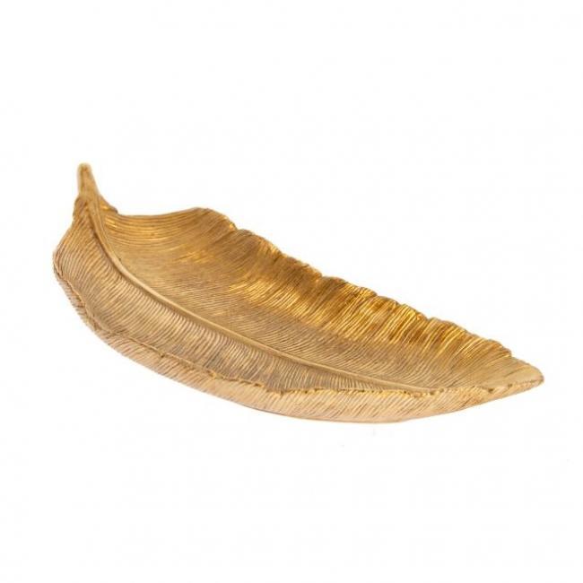 Madártoll mintázatú tálca poly 20cm x7,8cm x2,8 cm arany