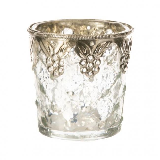Mécsestartó fém virágos berakással üveg 8cm x8cm x8cm átlátszó,ezüst