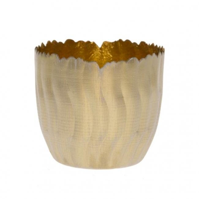 Mécsestartó hullámos fém 12cm x 12cm x 11cm arany/fényes arany
