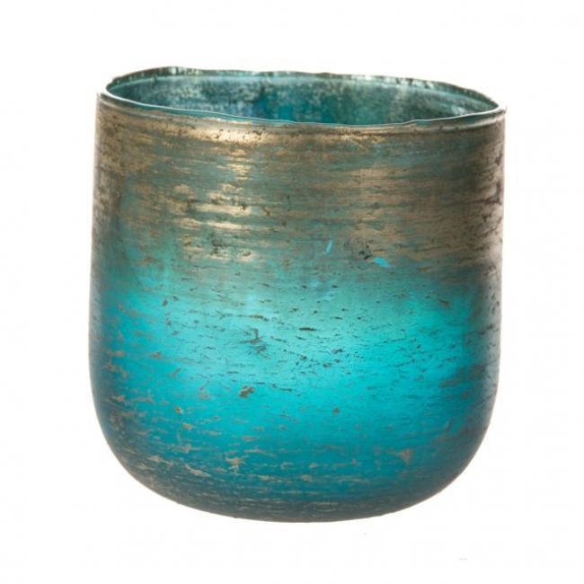 Mécsestartó kerek üveg 14cm x13cm kék,ezüst