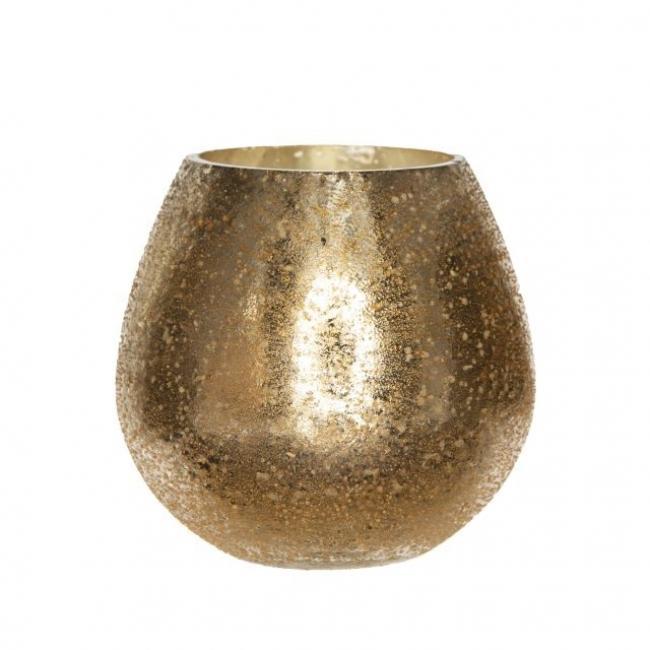 Mécsestartó kerek üveg 9,5 cm x 10 cm arany