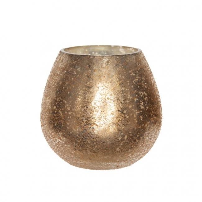 Mécsestartó kerek üveg 9,5 cm x 10 cm rosegold