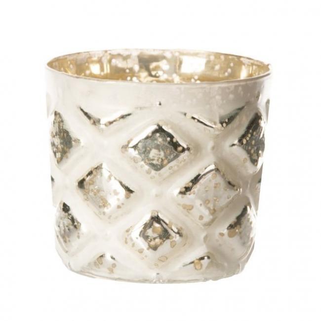 Mécsestartó kerek üveg 9cm x9cm x9cm fehér,ezüst