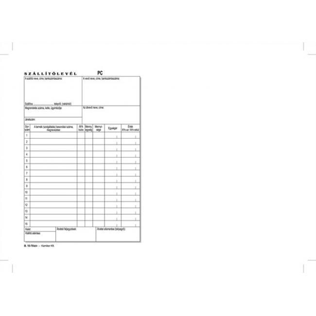 Nyomtatvány, szállítólevél, 50x2, A5, VICTORIA