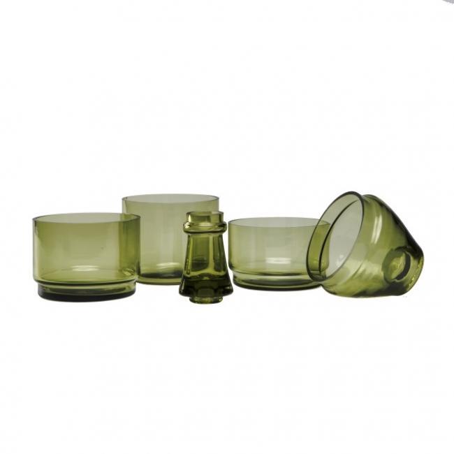 Palack formájú kínáló készlet, üveg 9x9x27 antik zöld