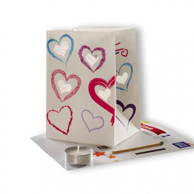 Papír mécsestartó mécsessel Szerelmes Hearts shapes papír 12x14x10cm fehér-fekete-piros-rózs