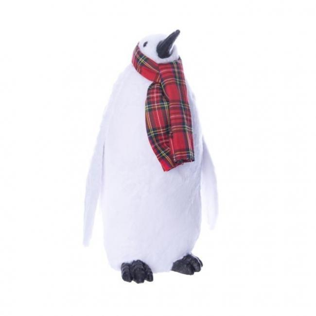 Pingvin sállal álló hungarocell/szövet 18cm x13cm x29cm fehér