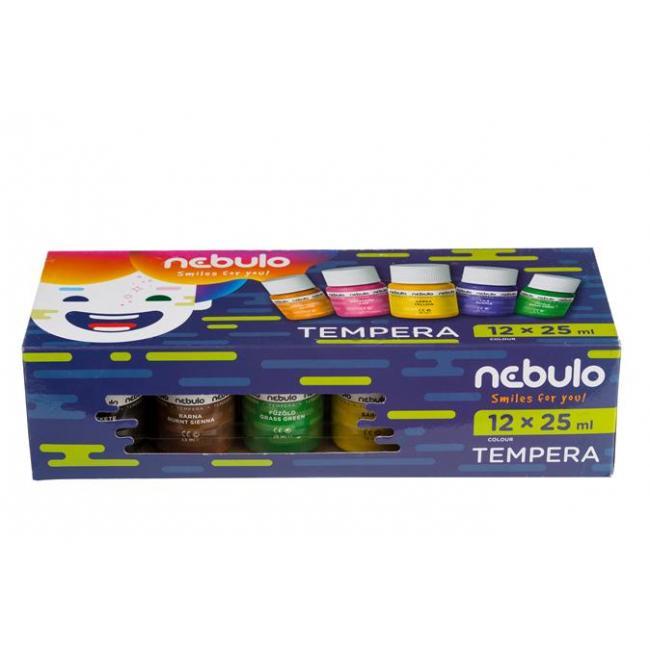 Tempera készlet, tégelyes, 25 ml, NEBULO, 12 különböző szín [12 db]