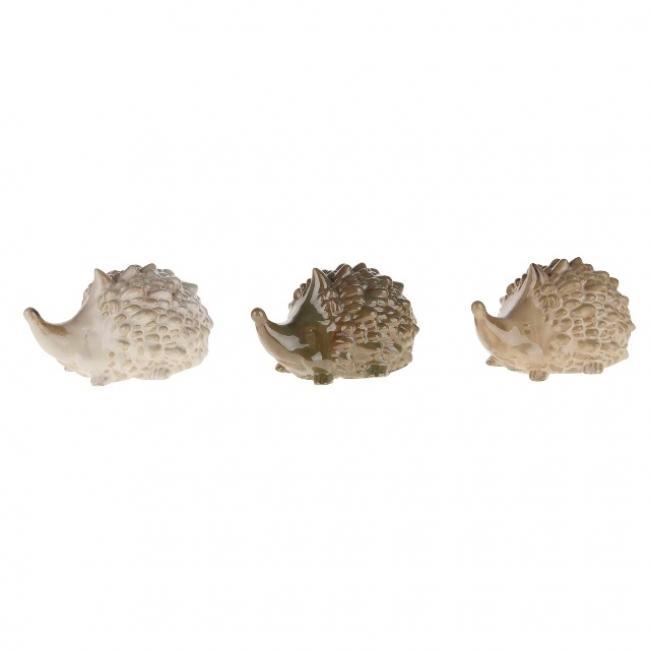 Sündisznó kerámia 15x16x12cm fehér/krém/zöld 3 féle