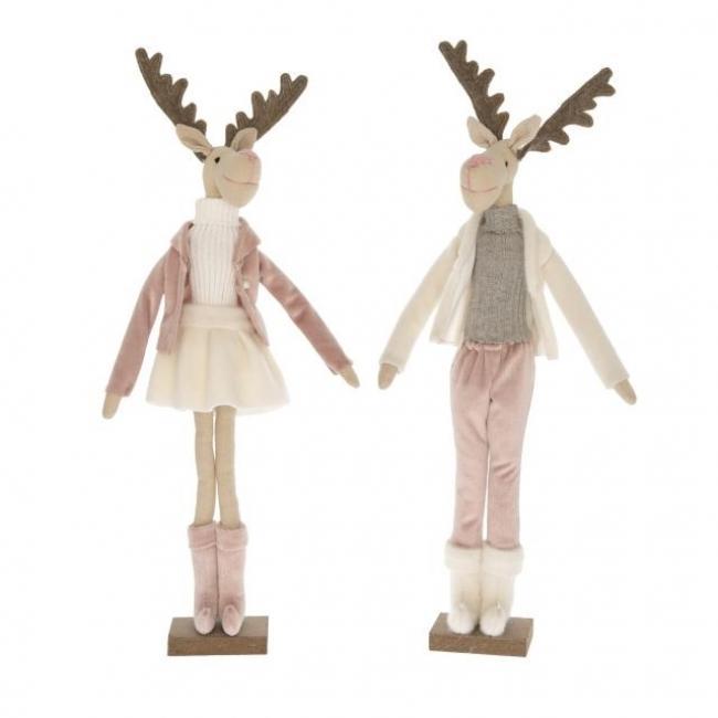 Szarvas álló fiú, lány textil 45 cm rózsaszín, fehér 2 féle