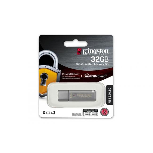 Pendrive, 32GB, USB 3.0, 135/40 MB/s, jelszavas védelemmel, KINGSTON