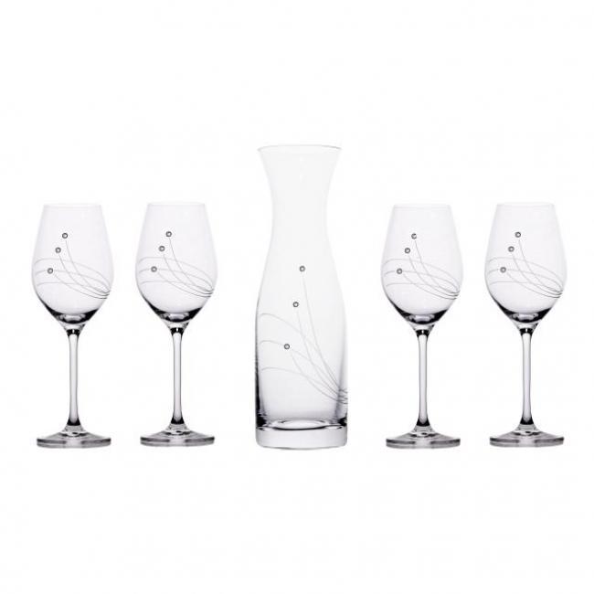 Üveg pohár boros + üveg swarovski díszítéssel üveg 360ml/1000ml [5 db]