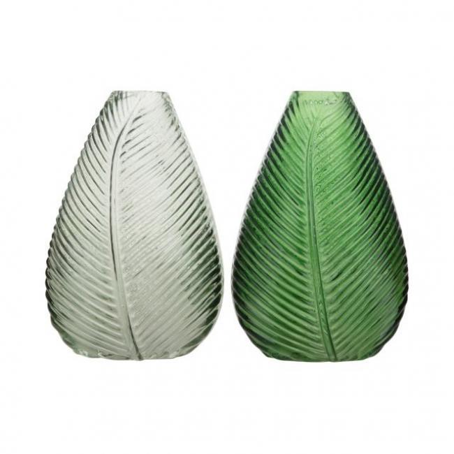 Váza levélmintás üveg 13,5 cm x 21 cm fehér, zöld 2 féle