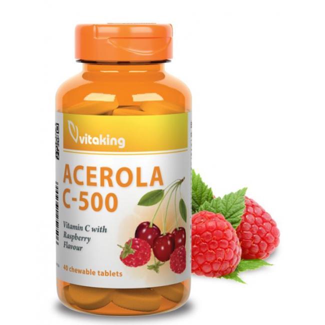 Vitaking Vitamin Acerola C-500 (málna ízű) rágótabletta [40 db]