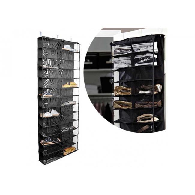 Cipőtároló ajtóra szerelhető, 160x55x16 cm, fekete