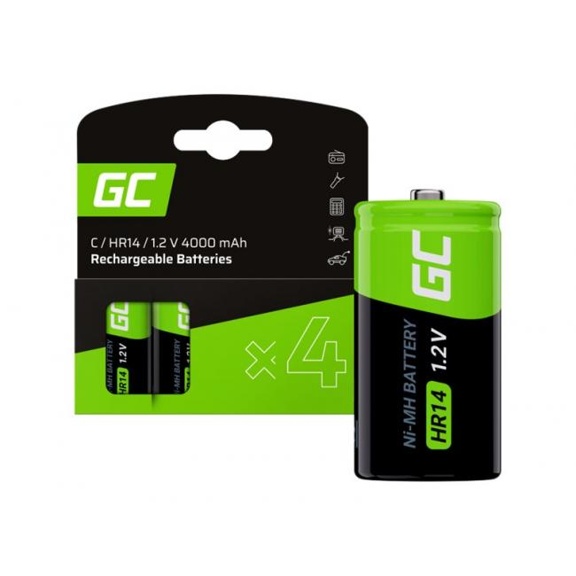 GREEN CELL 4x battery C R14 HR14 Ni-MH 1.2V 4000mAh