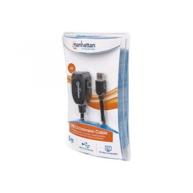 Manhattan Super-Speed USB aktív hosszabbító kábel A-A M/F 5m