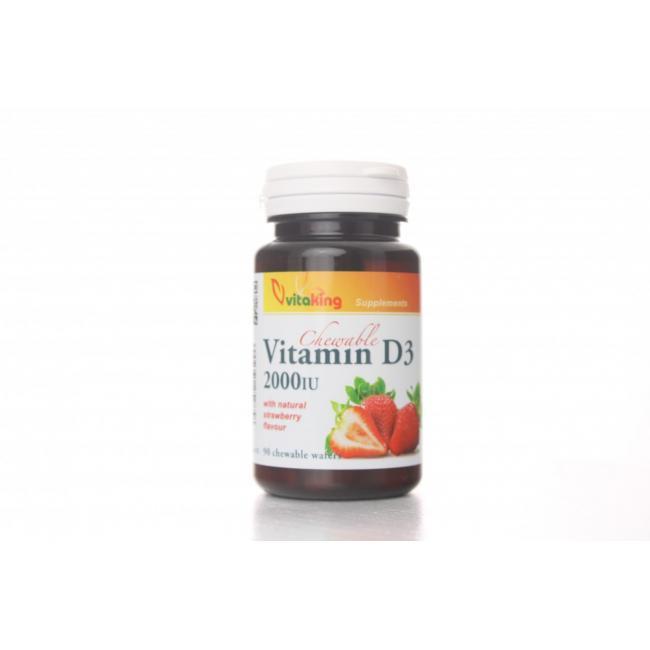 Vitaking Vitamin D3 2000NE (eper ízű) rágótabletta [90 db]